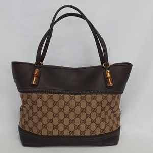 New GUCCI 353125 Monogram Bamboo Beige Brown Tote